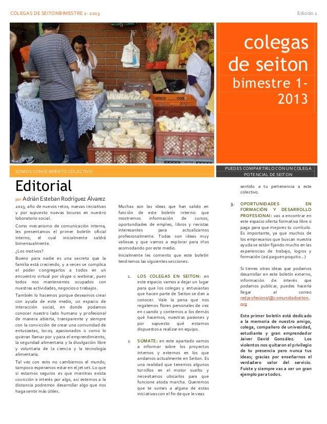 COLEGAS DE SEITONBIMESTRE 1- 2013 Edición 1colegasde seitonbimestre 1-2013SOMOS CONOCIMIENTO COLECTIVOPUEDES COMPARTIRLO C...