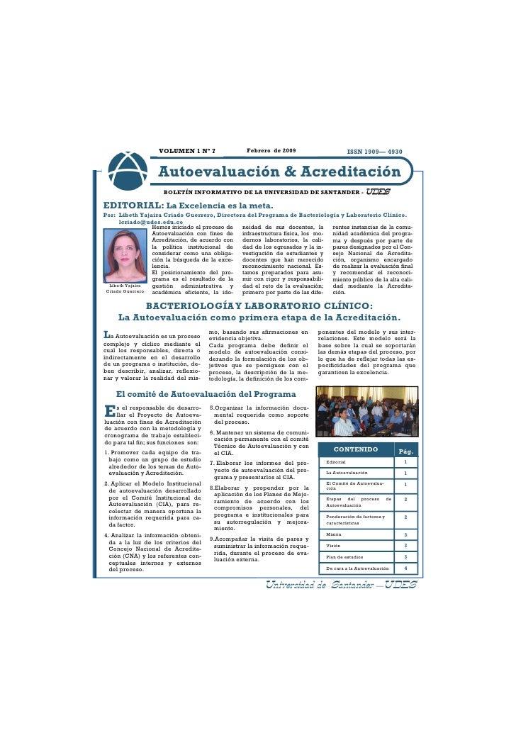 VOLUMEN 1 Nº 7                 Febrero de 2009                              ISSN 1909— 4930                       Autoeval...