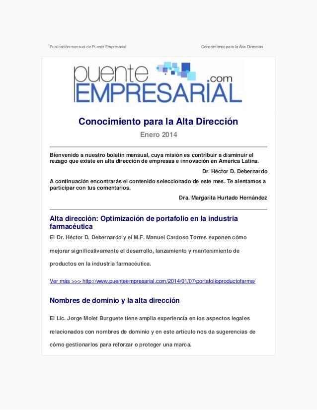 Publicación mensual de Puente Empresarial  Conocimiento para la Alta Dirección  Conocimiento para la Alta Dirección Enero ...