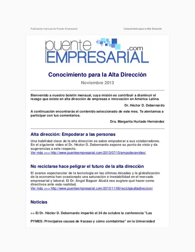 Publicación mensual de Puente Empresarial  Conocimiento para la Alta Dirección  Conocimiento para la Alta Dirección Noviem...