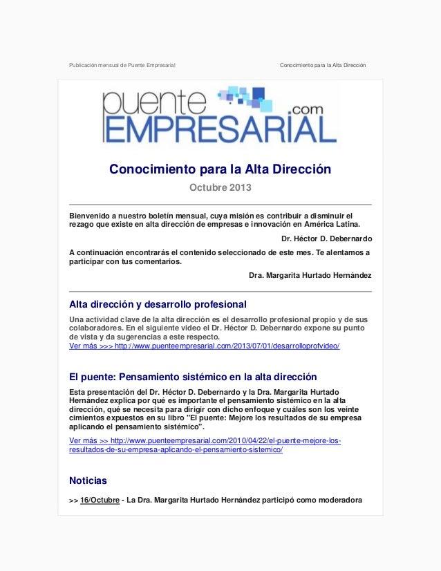 Publicación mensual de Puente Empresarial  Conocimiento para la Alta Dirección  Conocimiento para la Alta Dirección Octubr...