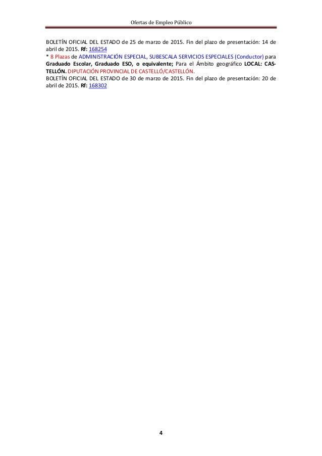 Ofertas de Empleo Público 4 BOLETÍN OFICIAL DEL ESTADO de 25 de marzo de 2015. Fin del plazo de presentación: 14 de abril ...