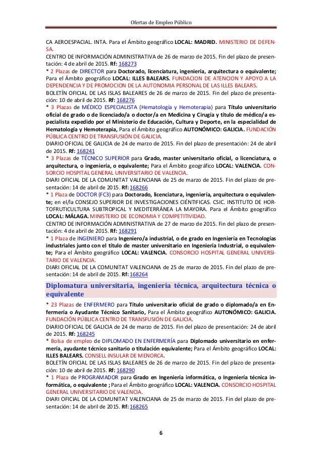 Ofertas de Empleo Público 6 CA AEROESPACIAL. INTA. Para el Ámbito geográfico LOCAL: MADRID. MINISTERIO DE DEFEN- SA. CENTR...
