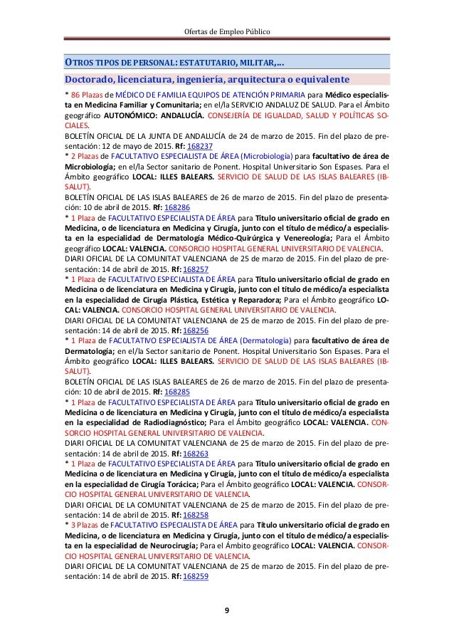 Ofertas de Empleo Público 9 OTROS TIPOS DE PERSONAL: ESTATUTARIO, MILITAR,... Doctorado, licenciatura, ingeniería, arquite...