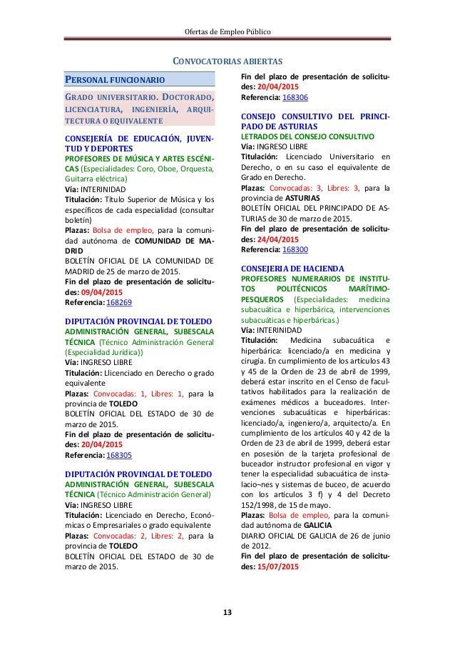 Ofertas de Empleo Público 13 CONVOCATORIAS ABIERTAS PERSONAL FUNCIONARIO GRADO UNIVERSITARIO. DOCTORADO, LICENCIATURA, ING...