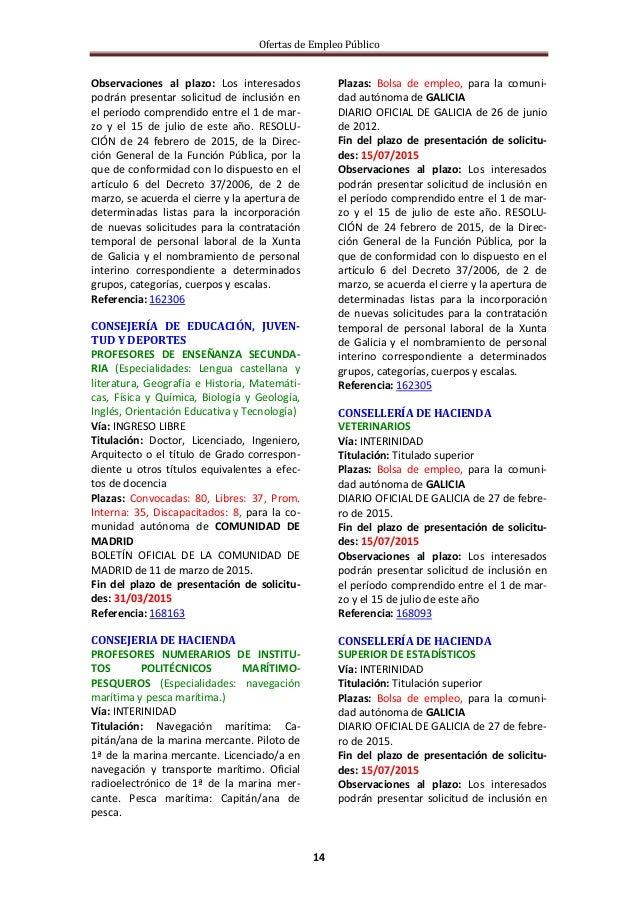 Ofertas de Empleo Público 14 Observaciones al plazo: Los interesados podrán presentar solicitud de inclusión en el período...