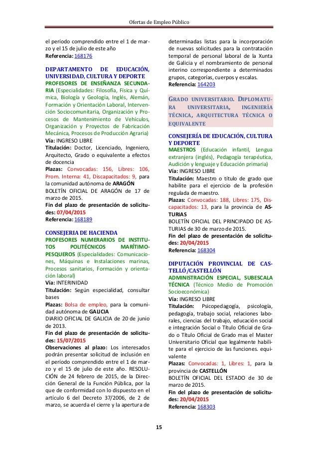 Ofertas de Empleo Público 15 el período comprendido entre el 1 de mar- zo y el 15 de julio de este año Referencia: 168176 ...