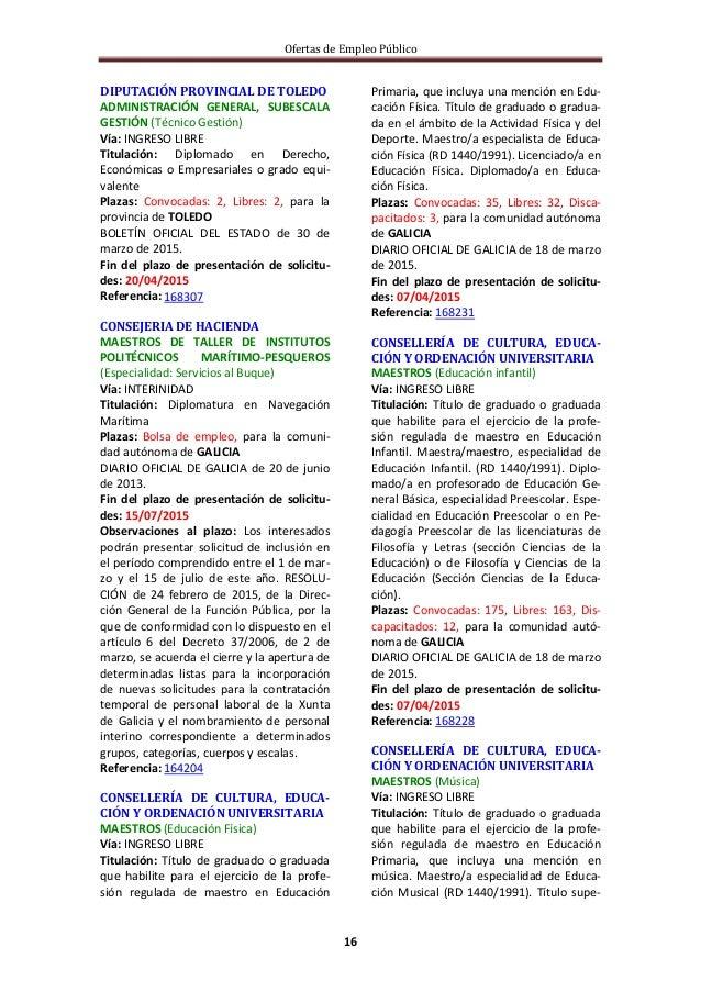 Ofertas de Empleo Público 16 DIPUTACIÓN PROVINCIAL DE TOLEDO ADMINISTRACIÓN GENERAL, SUBESCALA GESTIÓN (Técnico Gestión) V...