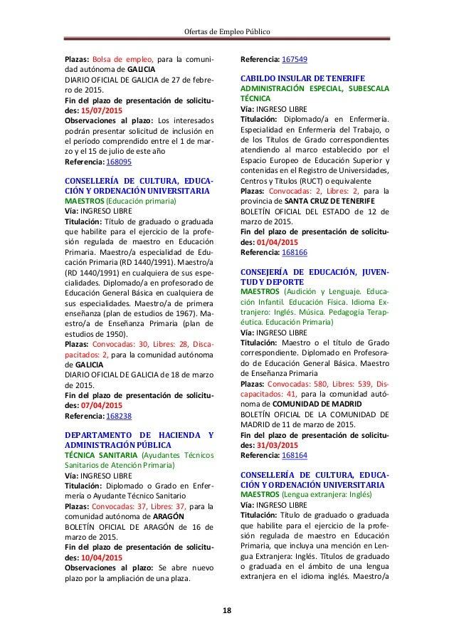 Ofertas de Empleo Público 18 Plazas: Bolsa de empleo, para la comuni- dad autónoma de GALICIA DIARIO OFICIAL DE GALICIA de...