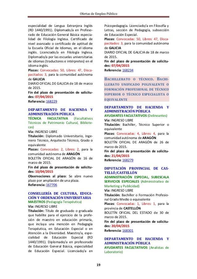 Ofertas de Empleo Público 19 especialidad de Lengua Extranjera Inglés (RD 1440/1991). Diplomado/a en Profeso- rado de Educ...