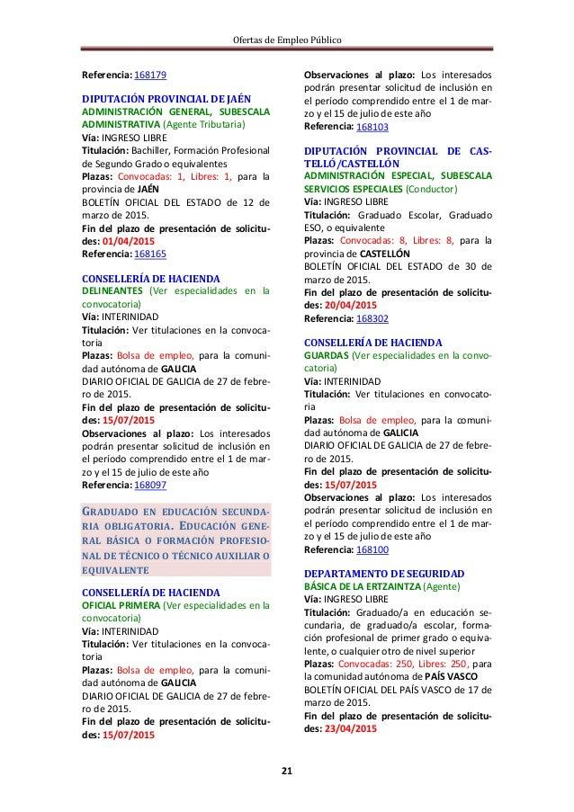 Ofertas de Empleo Público 21 Referencia: 168179 DIPUTACIÓN PROVINCIAL DE JAÉN ADMINISTRACIÓN GENERAL, SUBESCALA ADMINISTRA...