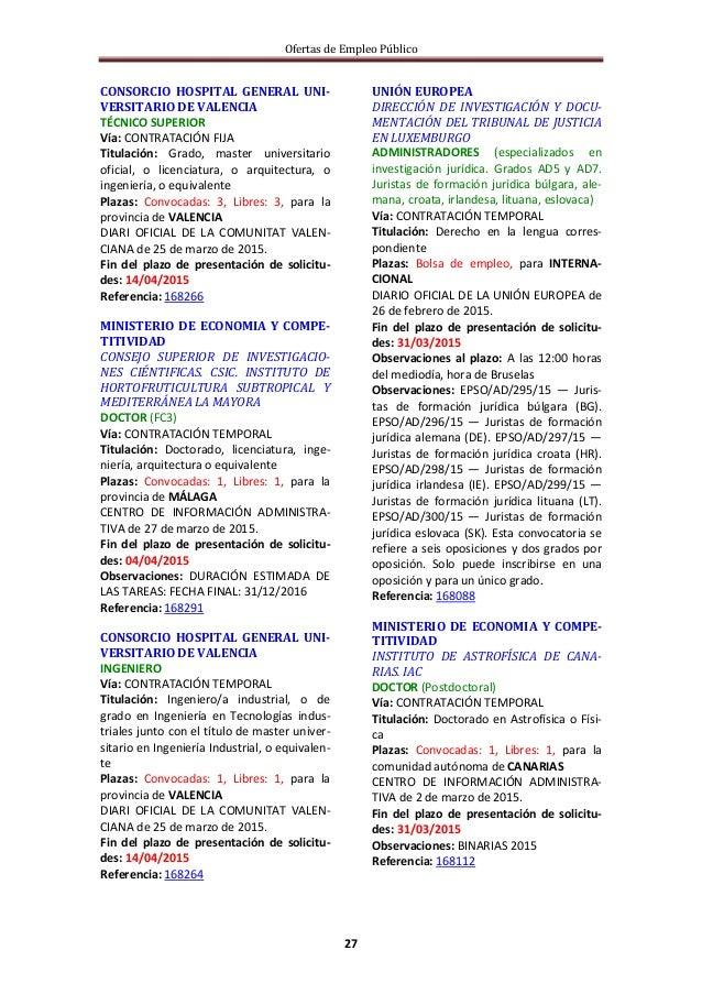 Ofertas de Empleo Público 27 CONSORCIO HOSPITAL GENERAL UNI- VERSITARIO DE VALENCIA TÉCNICO SUPERIOR Vía: CONTRATACIÓN FIJ...