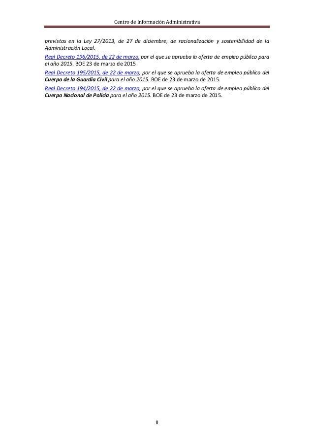 Centro de Información Administrativa II previstas en la Ley 27/2013, de 27 de diciembre, de racionalización y sostenibilid...