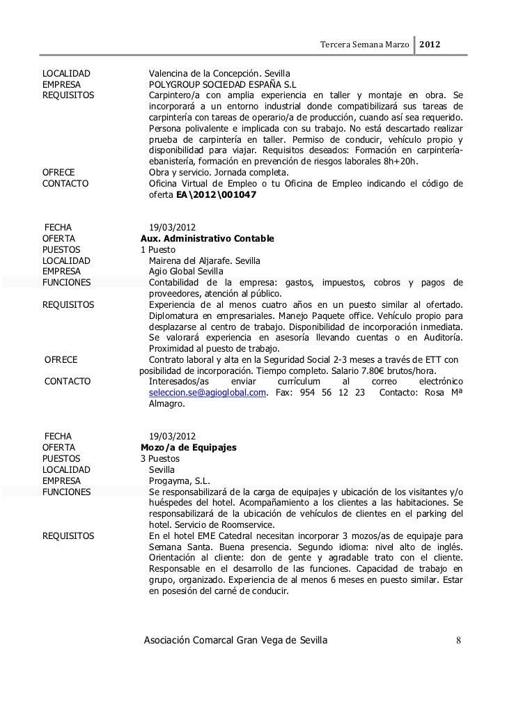 Bolet n gran vega de marzo for Oficina virtual de empleo sevilla