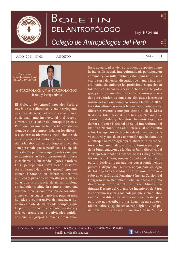 Ley Nº 24166  AÑO 2011 Nº 03                AGOSTO                                                          LIMA - PERU   ...