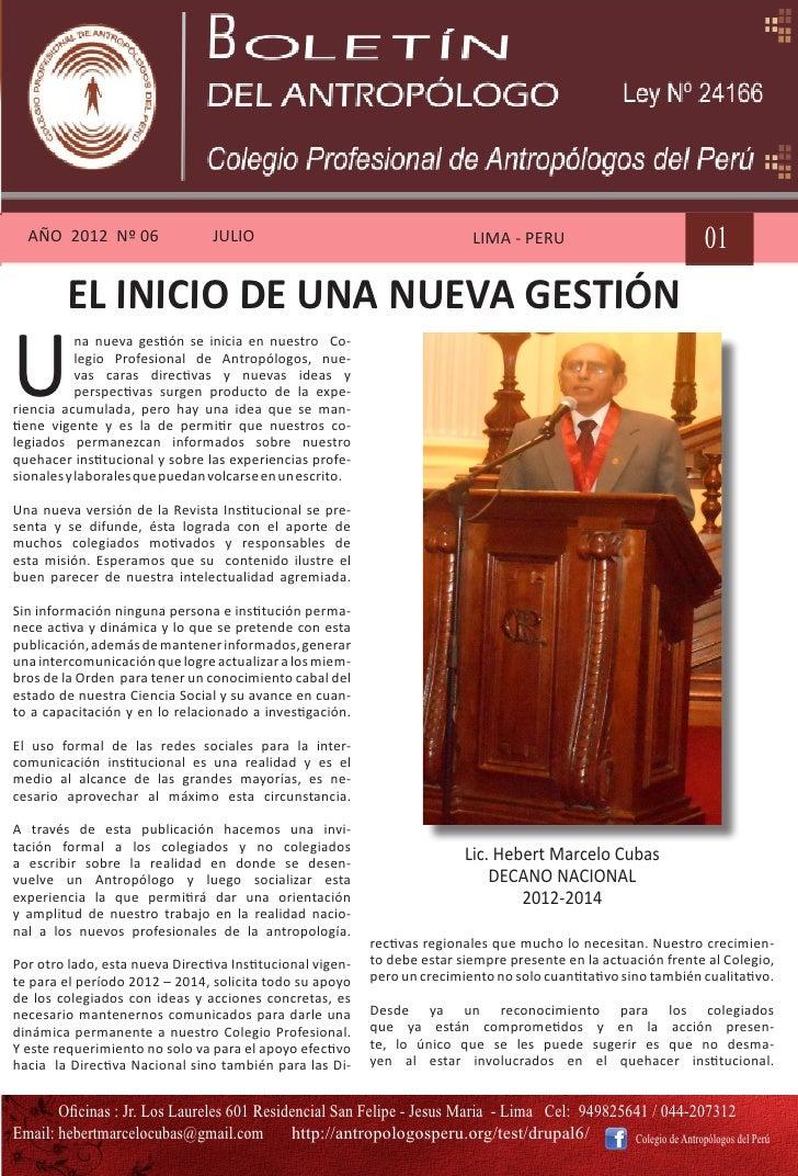 AÑO 2012 Nº 06                 JULIO                                       LIMA - PERU                            01      ...