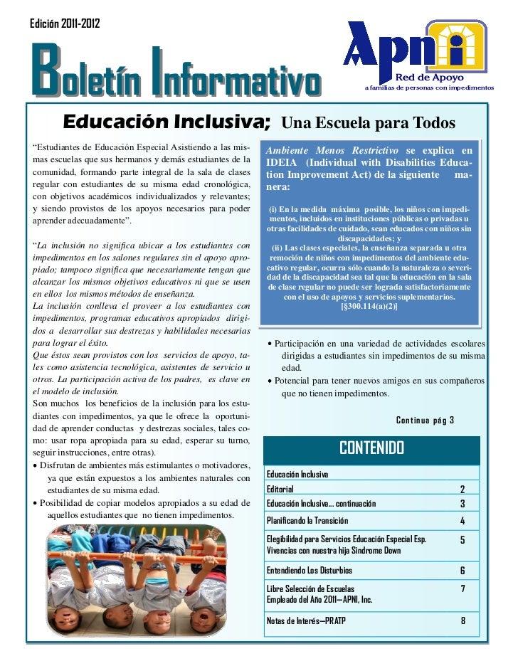 Edición 2011-2012Boletín Informativo       Educación Inclusiva; Una Escuela para Todos                                    ...