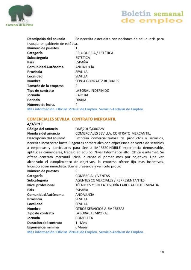 Boletin de empleo corredor de la plata - Oficina del servicio andaluz de empleo ...