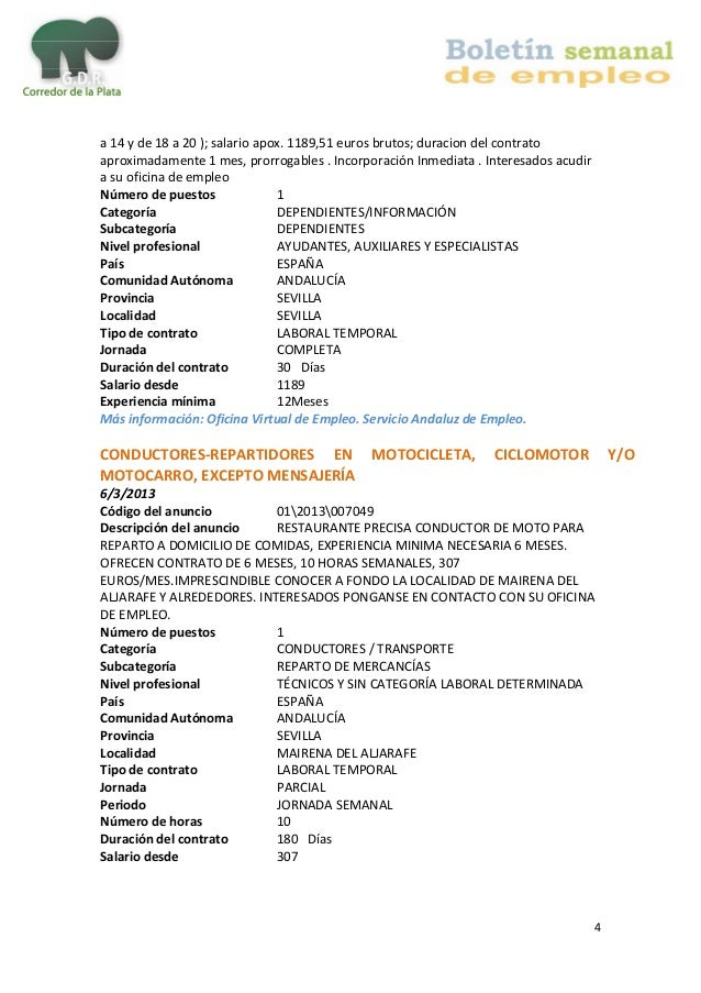 Boletin de empleo corredor de la plata - Oficina virtual andalucia ...