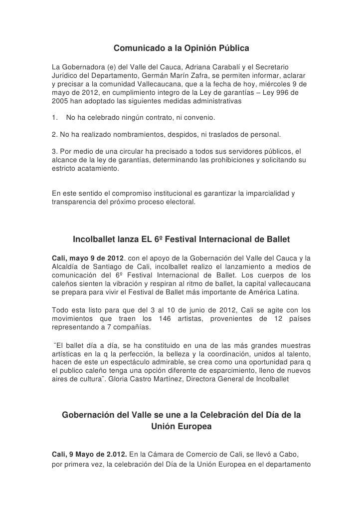 Comunicado a la Opinión PúblicaLa Gobernadora (e) del Valle del Cauca, Adriana Carabalí y el SecretarioJurídico del Depart...