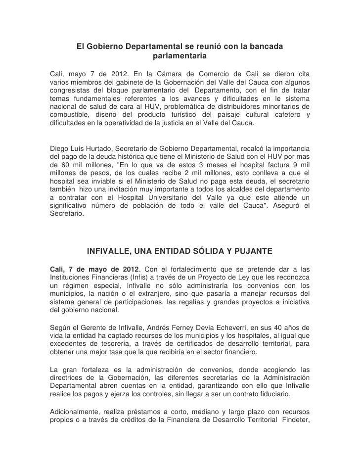 El Gobierno Departamental se reunió con la bancada                          parlamentariaCali, mayo 7 de 2012. En la Cámar...