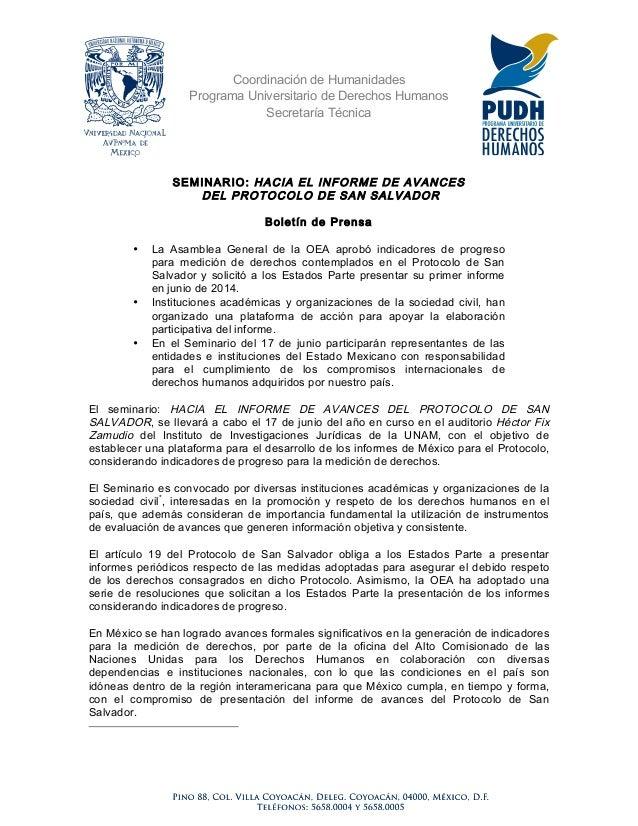 Coordinación de HumanidadesPrograma Universitario de Derechos HumanosSecretaría TécnicaSEMINARIO: HACIA EL INFORME DE AVAN...