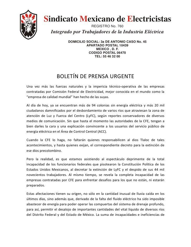 Sindicato Mexicano de Electricistas                                           REGISTRO No. 760                 Integrado p...