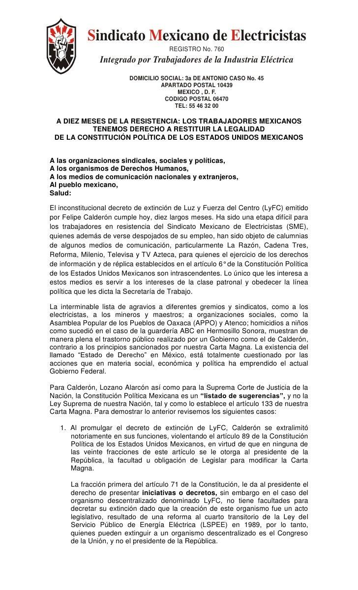 Sindicato Mexicano de Electricistas                                        REGISTRO No. 760                 Integrado por ...