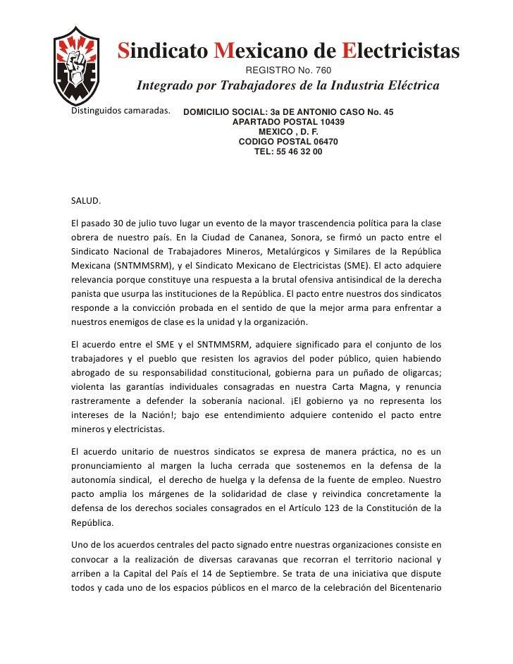Sindicato Mexicano de Electricistas                                            REGISTRO No. 760                 Integrado ...