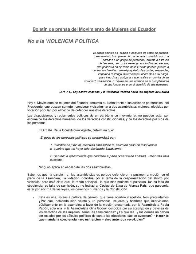 Boletín de prensa del Movimiento de Mujeres del Ecuador  No a la VIOLENCIA POLÍTICA El acoso político es el acto o conjunt...