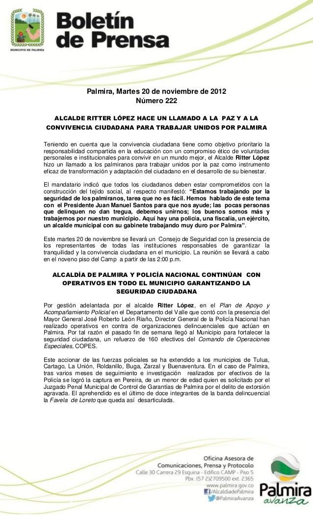 Palmira, Martes 20 de noviembre de 2012                              Número 222    ALCALDE RITTER LÓPEZ HACE UN LLAMADO A ...