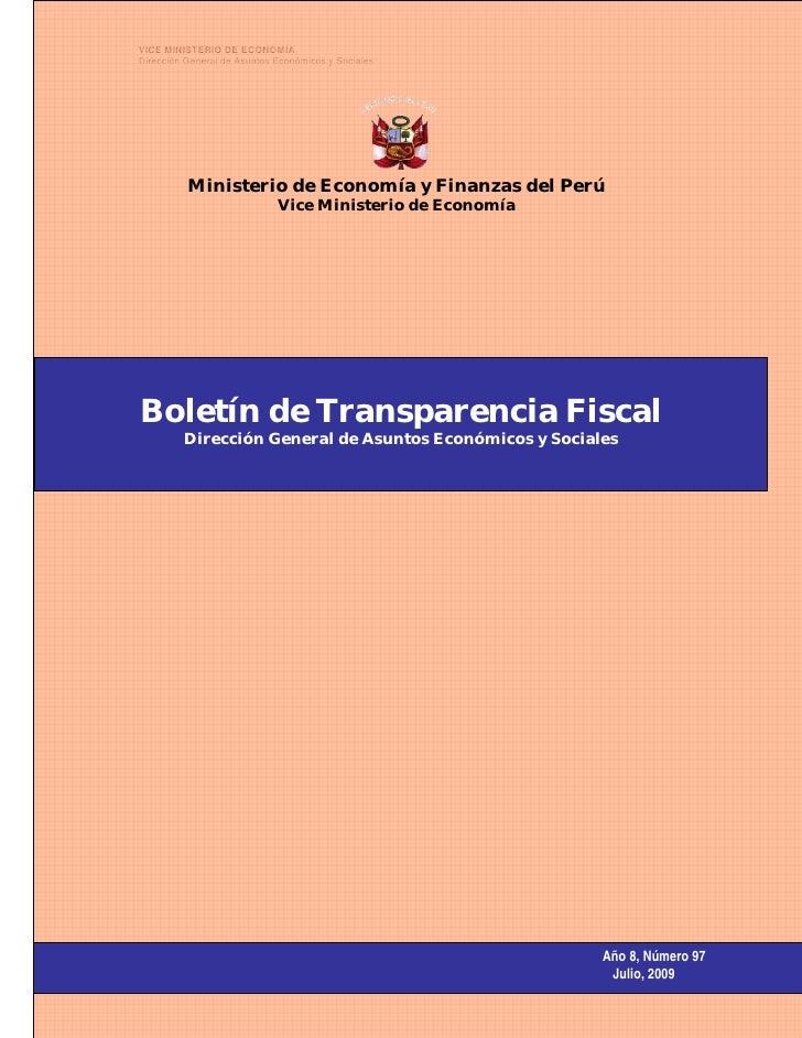 VICE MINISTERIO DE ECONOMÍA      Dirección General de Asuntos Económicos y Sociales                    Ministerio de Econo...
