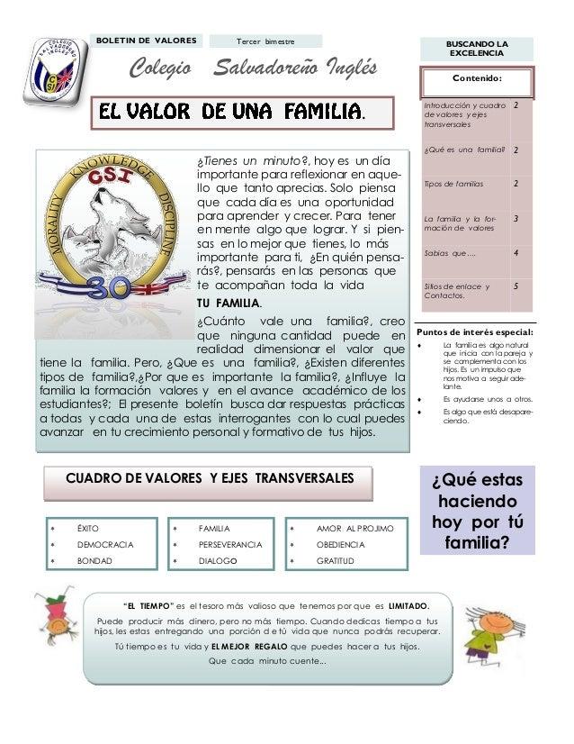 BOLETIN DE VALORES  Tercer bimestre  BUSCANDO LA EXCELENCIA  Colegio Salvadoreño Inglés  Contenido: Introducción y cuadro ...