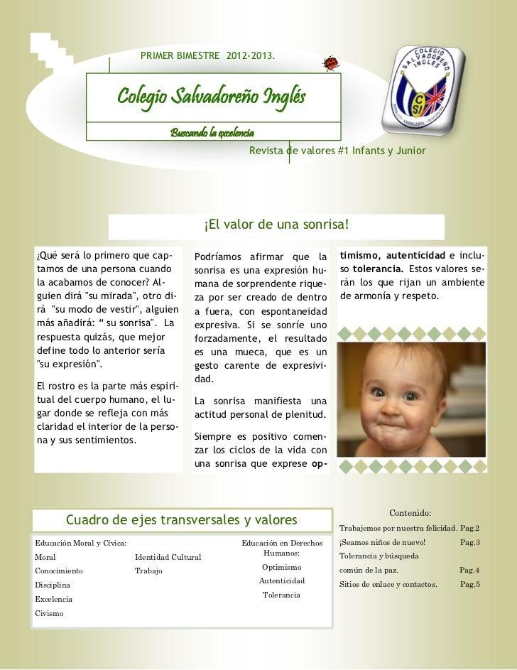 PRIMER BIMESTRE 2012-2013.                      Colegio Salvadoreño Inglés                                      Buscando l...
