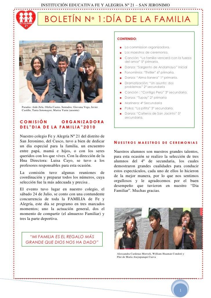 """BOLETÍN Nº 1:DÍA DE LA FAMILIA<br />CONTENIDO:La commission organizadora.Los maestros de ceremonia.Canción: """"La familia ve..."""
