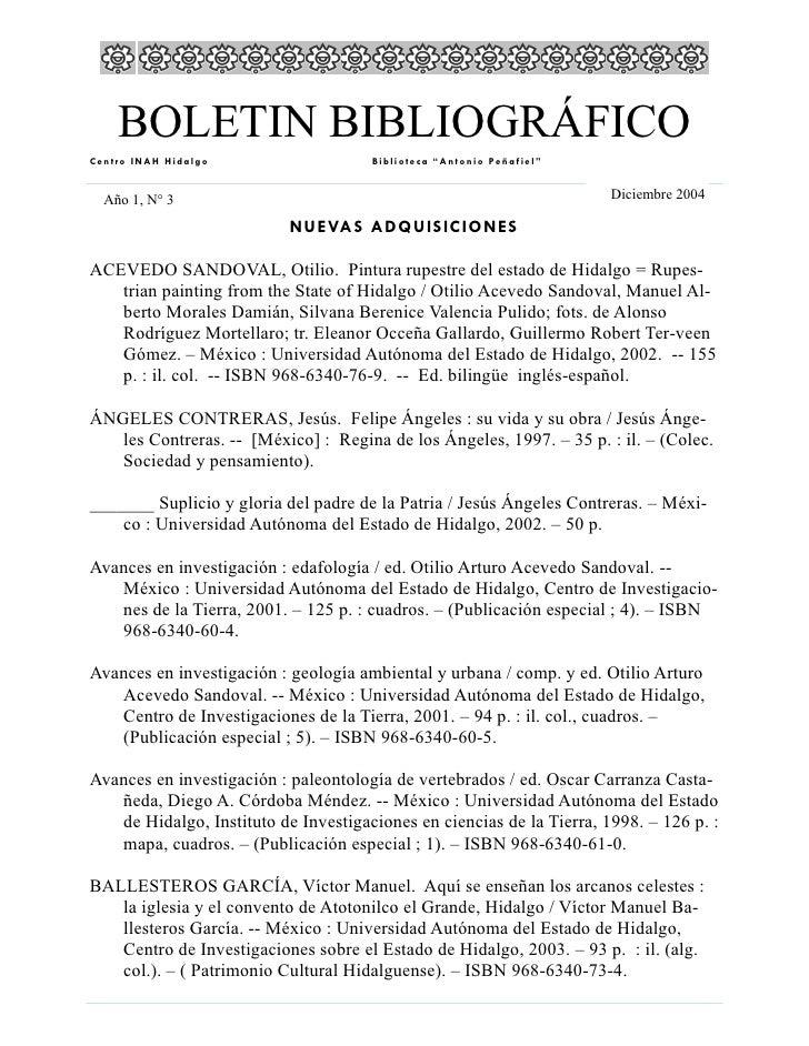 """BOLETIN BIBLIOGRÁFICO Centro INAH Hidalgo                   Biblioteca """"Antonio Peñafiel""""     Año 1, N° 3                 ..."""