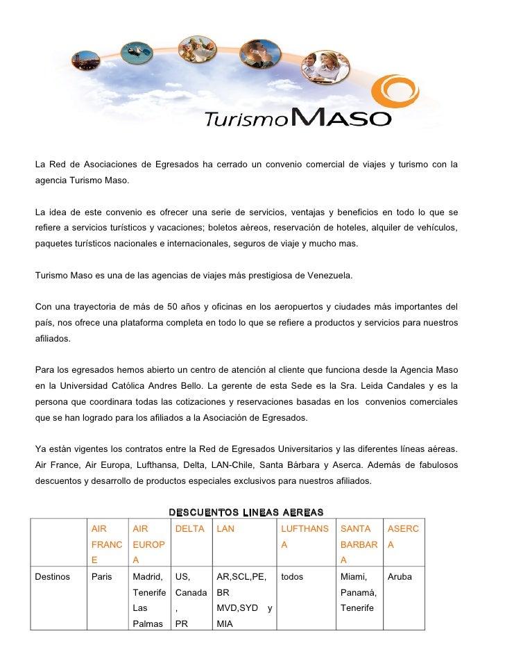 La Red de Asociaciones de Egresados ha cerrado un convenio comercial de viajes y turismo con laagencia Turismo Maso.La ide...