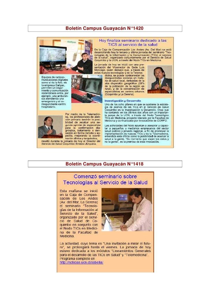 Boletín Campus Guayacán N° 1420     Boletín Campus Guayacán N° 1418