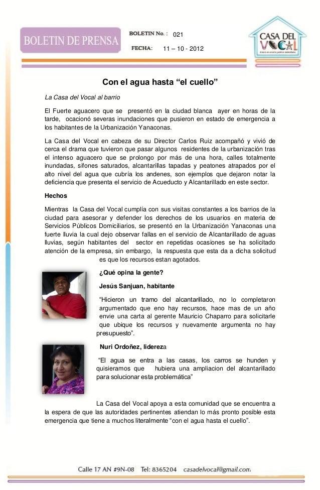 """021                                           11 – 10 - 2012                    Con el agua hasta """"el cuello""""La Casa del V..."""