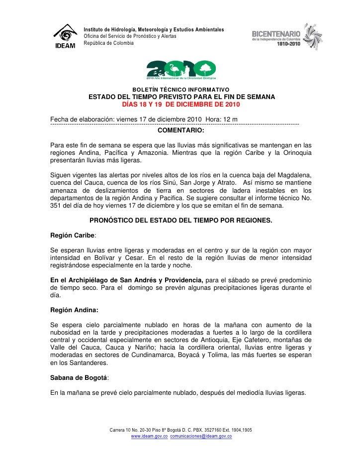 Instituto de Hidrología, Meteorología y Estudios Ambientales               Oficina del Servicio de Pronóstico y Alertas   ...