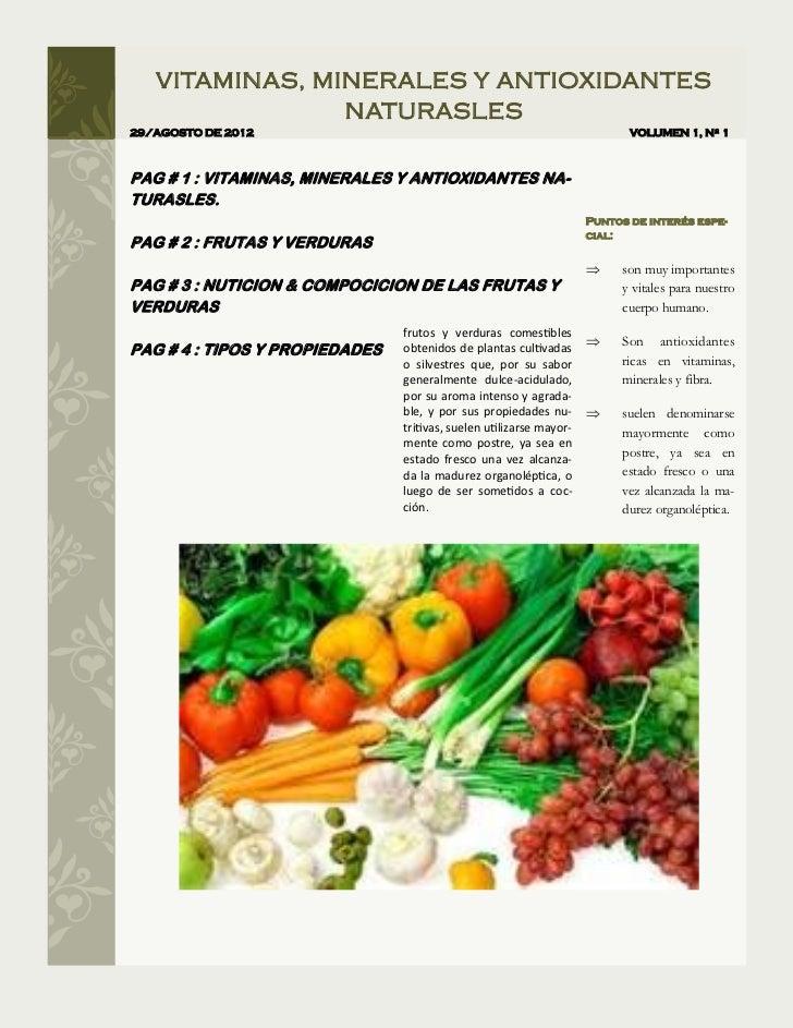 VITAMINAS, MINERALES Y ANTIOXIDANTES                NATURASLES29/AGOSTO DE 2012                                           ...