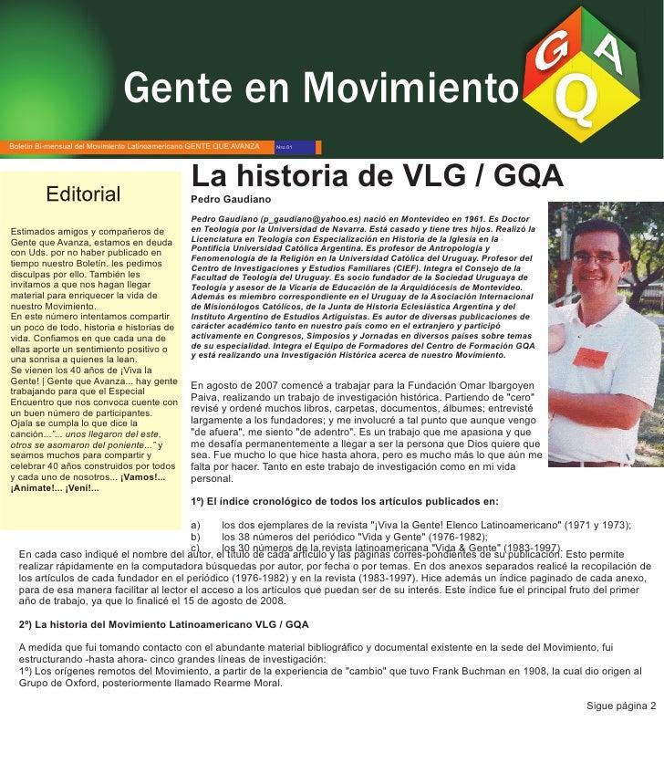 Gente en Movimiento Boletín Bi-mensual del Movimiento Latinoamericano GENTE QUE AVANZA   Nro.01                           ...