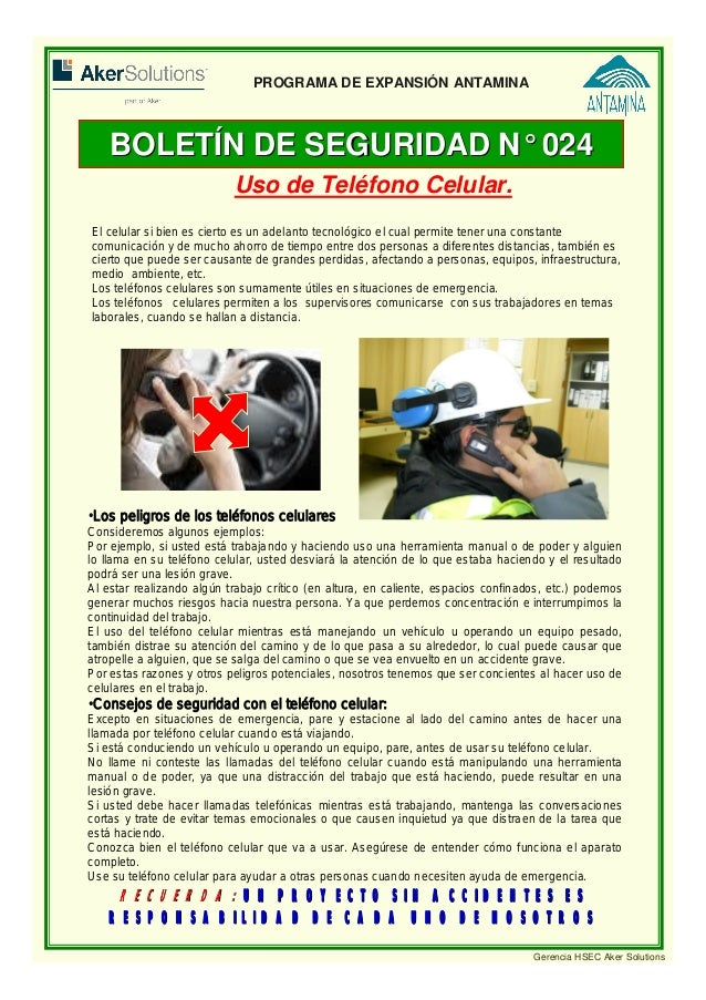 Boletin hsec 024 uso de tel fono celular for Busqueda de telefonos por calles