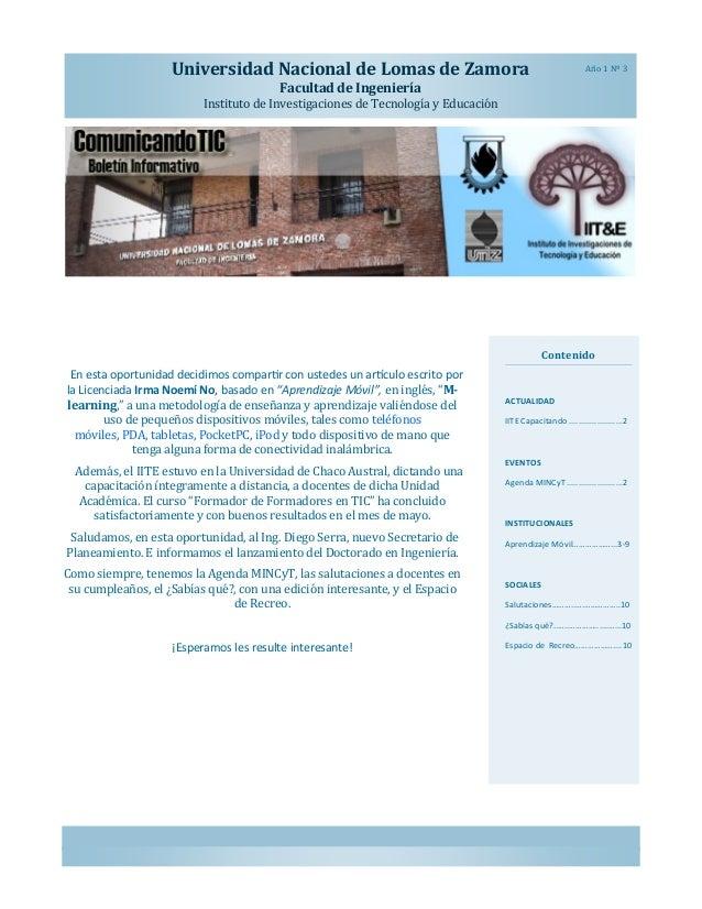 Universidad Nacional de Lomas de Zamora  Ano 1 Nº 3  Facultad de Ingeniería Instituto de Investigaciones de Tecnología y E...