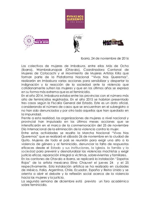 Ibarra, 24 de noviembre de 2016 Los colectivos de mujeres de Imbabura, entre ellos Más de Ocho (Ibarra), Wambrakunapak (Ot...