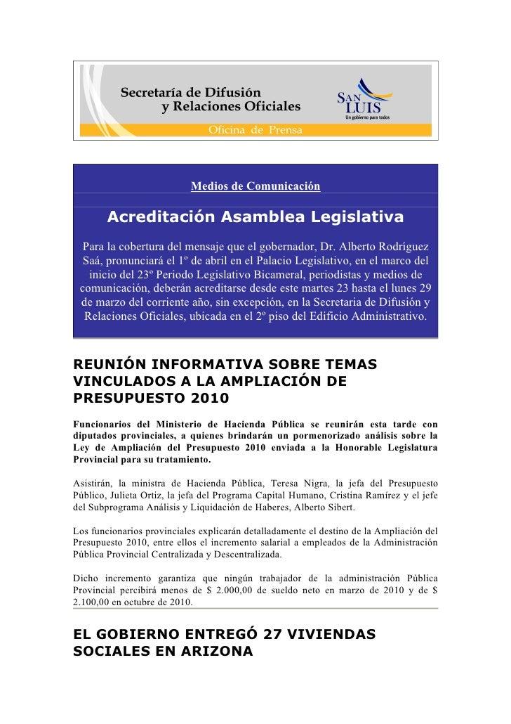 Medios de Comunicación          Acreditación Asamblea Legislativa   Para la cobertura del mensaje que el gobernador, Dr. A...