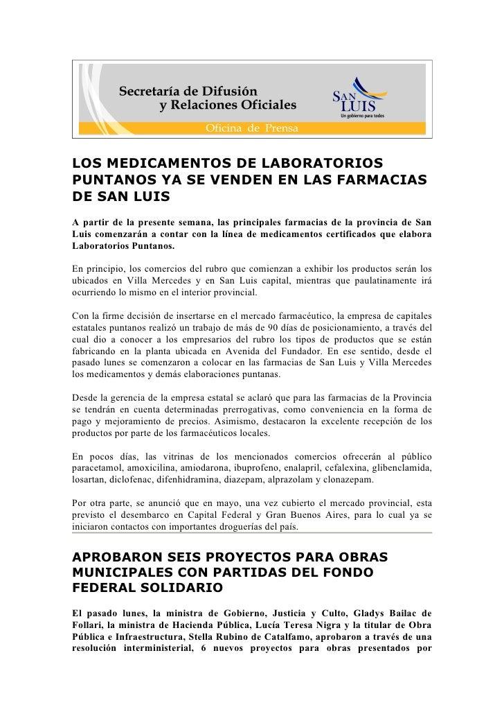 LOS MEDICAMENTOS DE LABORATORIOS PUNTANOS YA SE VENDEN EN LAS FARMACIAS DE SAN LUIS A partir de la presente semana, las pr...