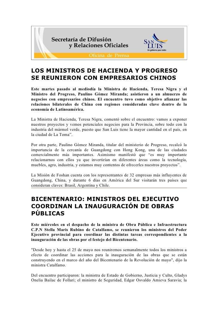 LOS MINISTROS DE HACIENDA Y PROGRESO SE REUNIERON CON EMPRESARIOS CHINOS Este martes pasado al mediodía la Ministra de Hac...