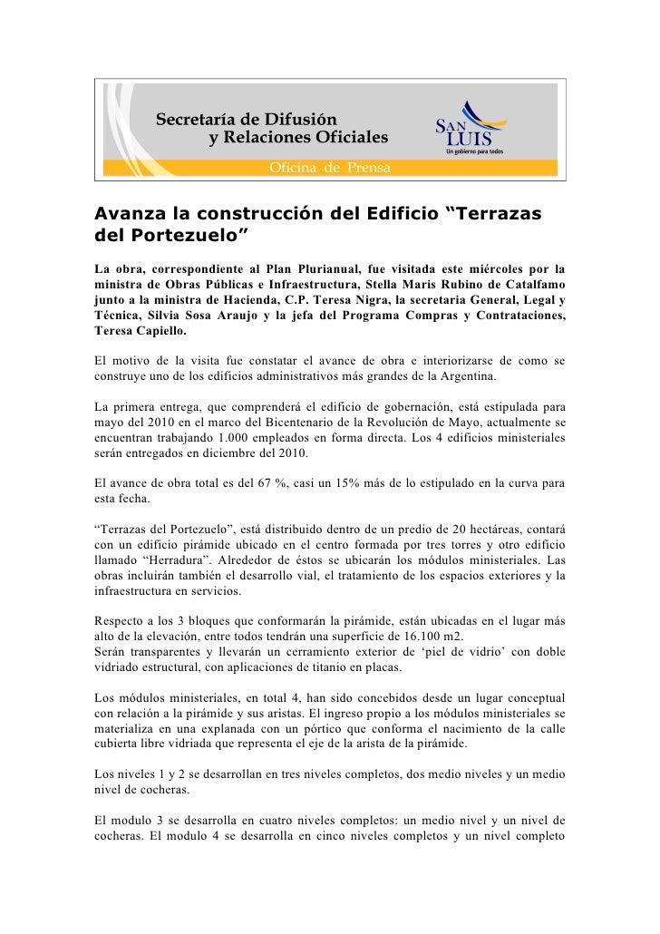 """Avanza la construcción del Edificio """"Terrazas del Portezuelo"""" La obra, correspondiente al Plan Plurianual, fue visitada es..."""