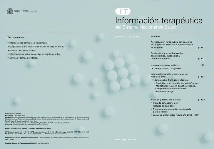 Información terapéuticadelSistemaNacionaldeSaludVolumen 34, Nº 4/2010   Sumario                        Actualización t...